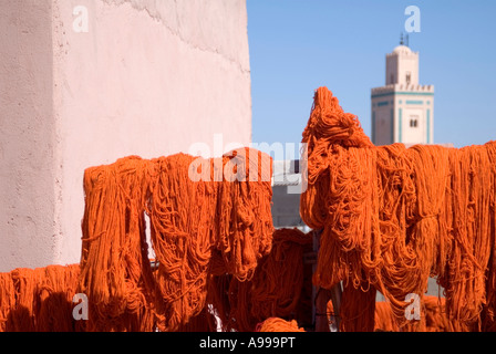 Dyed yarn hanging out to dry in Souk Sebbaghine or Dyers Souk. Marrakesh. Morocco - Stock Photo