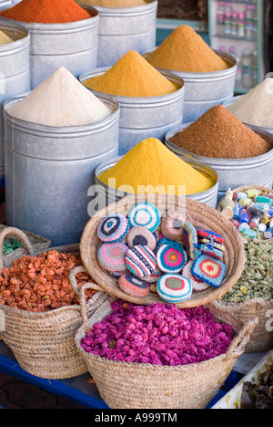 Herbs and spices for sale in an apothecary in Place Rahba Qedima in the main souq of Marrakesh Morocco - Stock Photo