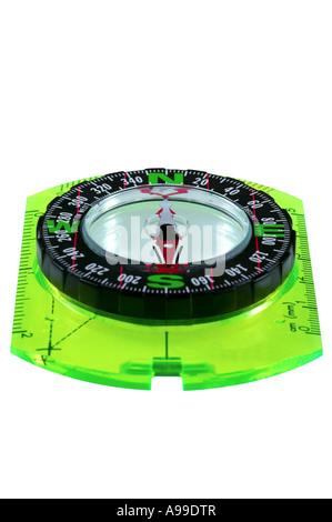 Orienteering Compass isolated on white - Stock Photo