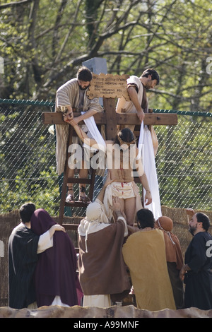 Jesus Christ is removed from the cross after being crucified during the Balmaseda Passion Play, northern Spain. - Stock Photo