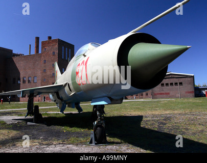 A Mig 21 jet fighter on display at the historic military research site of Peenemünde - Stock Photo