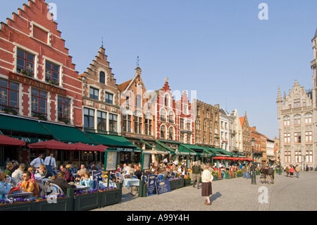 Some of the many cafes and restaurants in the main Market square of Bruges (Brugge), Belgium. - Stock Photo