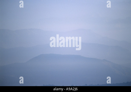Misty Jugal Himal as seen from Dhulikhel village in Kathmandu Valley Nepal - Stock Photo