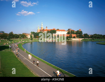 Wawel Royal Castle and Cathedral on Wawel Hill by Vistula River Krakow Poland Build in Renaissance and Gothic style - Stock Photo