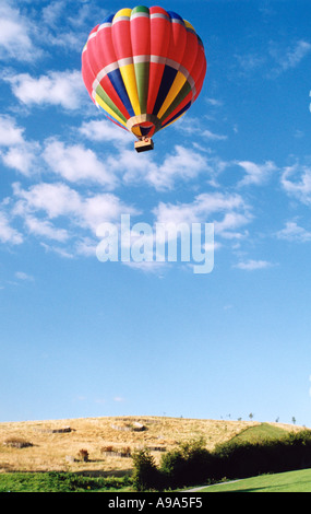 Hot Air balloon launch, multicoloured balloon rising over yellow corn fields into a perfect blue sky - Stock Photo