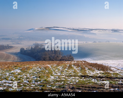 ARUN VALLEY FROM BURY HILL WEST SUSSEX England UK  Looking across to Rackham Hill on South Downs with mist lying in the valley Stock Photo