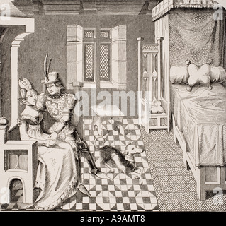 The Knight and his Lady Costumes of the Court of Burgandy in the 14th century - Stock Photo