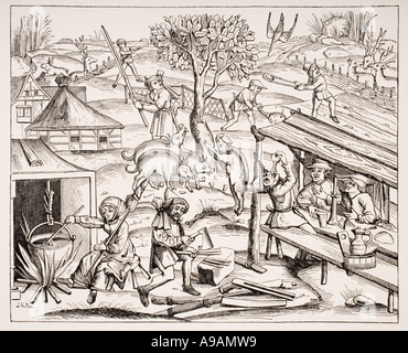 Country Life 19th century reproduction of woodcut in folio edition of Virgil published in Lyons 1517 - Stock Photo