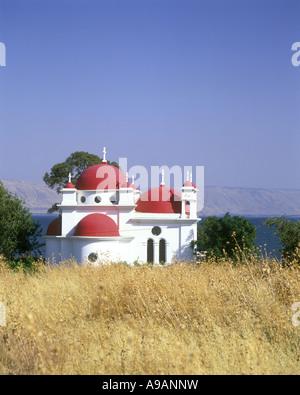 CHURCH OF THE SEVEN APOSTLES (1931) GREEK ORTHODOX CHURCH CAPERNAUM SEA OF GALILEE ISRAEL - Stock Photo