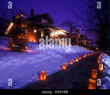 LUMINARIES ANNUAL CHRISTMAS TREE LIGHTS FESTIVAL HISTORIC DISTRICT BROOKVILLE PENNSYLVANIA USA - Stock Photo