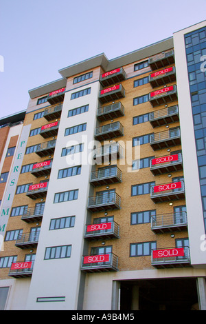 ... Sold Signs On A New Development Of Apartments; Newcastle; UK   Stock  Photo
