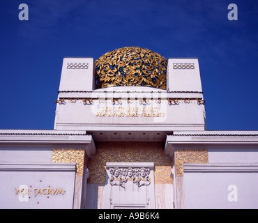 The golden roof and detail from the front of the Art Nouveau Vienna Secession building, Austria - Stock Photo
