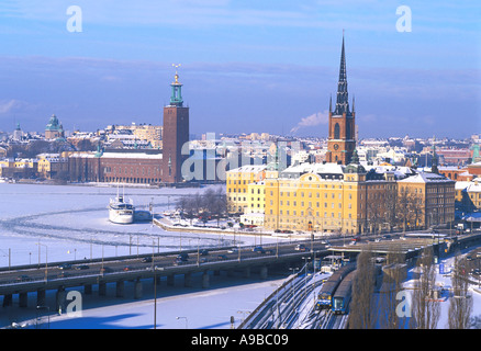 SWEDEN STOCKHOLM THE TOWN HALL AND RIDDARHOLMEN SEEN FROM SLUSSEN  - Stock Photo