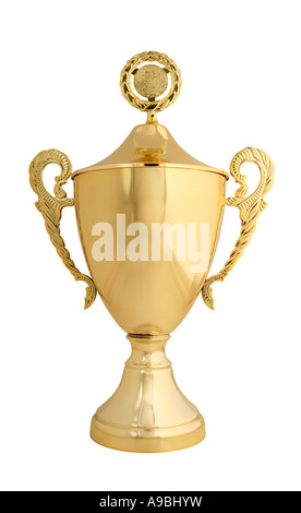 Large Golden Trophy Isolated On White With Real Object Not A 3D Render
