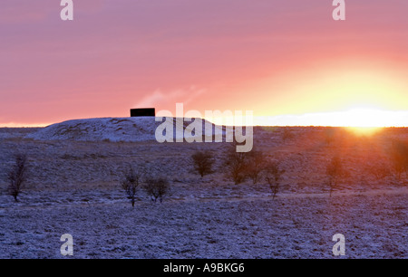 The 5th vent to Totley tunnel at sunrise on 'Totley moss' In Derbyshire 'Great Britain' - Stock Photo
