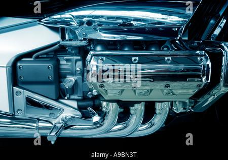 brand new motorcycle engine on a big chopper bike - Stock Photo