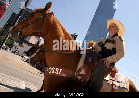 Sheriff on horse back, Immigration rally, Dallas, Texas ...