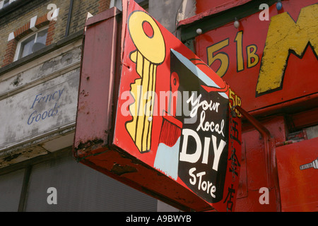 A do it yourself diy shop small business in town stock photo a home made sign to a do it yourself shop in finsbury park london solutioingenieria Images