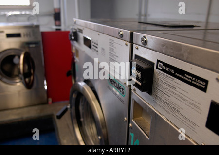 An empty laundry room in an apartment building in New York on ...