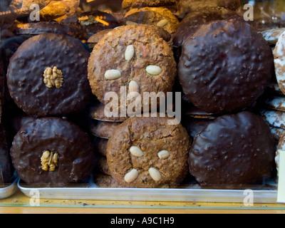 Ginger bread Lebkuchen fruit cake in Christmas market famous in Nuremberg Nürnberg Bavaria Germany - Stock Photo