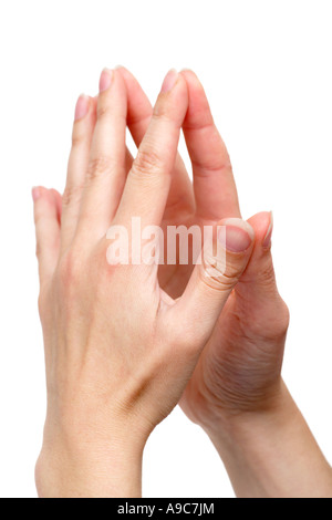 Hands with Finger Tips Together - Stock Photo