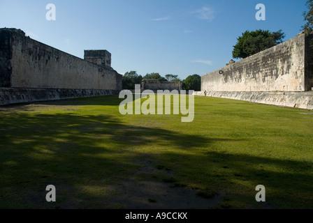 Chichen Itza Yucatan Great Ballcourt panoramic view Mexico - Stock Photo