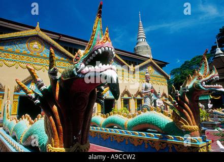 Multi headed dragons temple Wat Chayamangkalaram Wat Buppharam Penang Georgetown Malaysia - Stock Photo