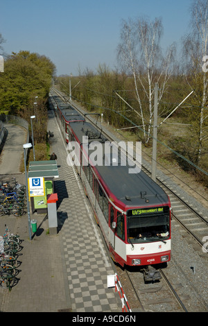 Duisburg to Duesseldorf tram at Flughafenstrasse station, D-Lohausen, Germany. - Stock Photo