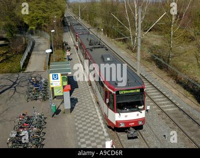 Duisburg to Duesseldorf tram at Flughafenstrasse station, D-Lohausen, Germany.