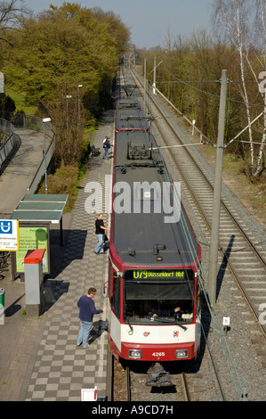 Duisburg to Duesseldorf tram at Flughafenstrasse station, D. Lohausen, Germany.