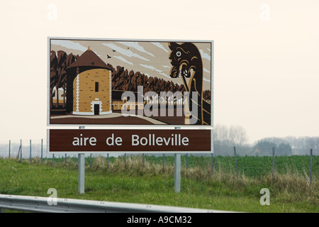 French painted autoroute information sign Aire de Bolleville Stock Photo