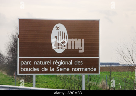 French painted autoroute information sign to a nature park Normandy France Stock Photo
