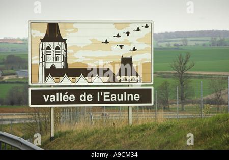 French painted autoroute information sign Vallée de L'Eaulne France Europe Stock Photo