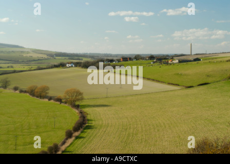 View of South Downs from Mill Hill north of Shoreham by Sea in West Sussex - Stock Photo