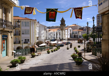 View of the street leading to Betanzos main square from the old city centre Galicia A Coruña España Iberia Spain - Stock Photo