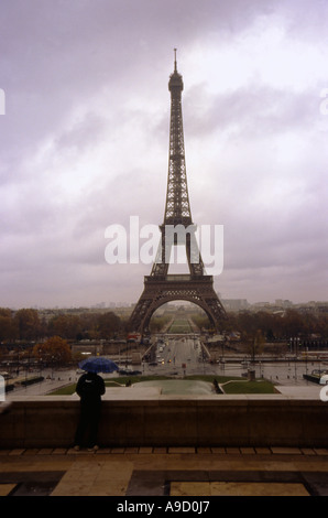 View of magnificent Tour Eiffel Tower one the highest iron buildings in the World Paris northern France Europe - Stock Photo