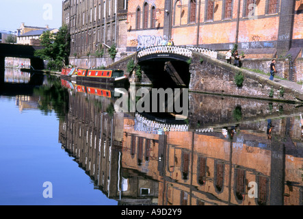 View of Camden Canal with water reflection near the Lock Market Camden Town London England United Kingdom Europe - Stock Photo