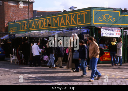View of the busy lively colourful Camden Market in Camden Town London England United Kingdom Europe - Stock Photo