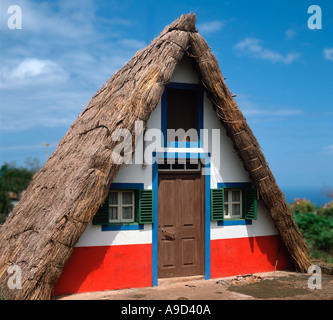 Traditional Thatched House, Santana, Madeira, Portugal - Stock Photo
