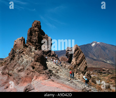 Los Roques de Garcia with Mount Teide behind, Mount Teide National Park, Tenerife, Canary Islands, Spain - Stock Photo