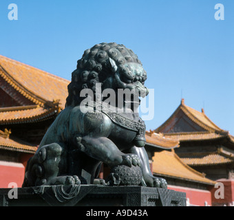 Statue of a bronze lion, Imperial Palace, Forbidden City, Beijing, China