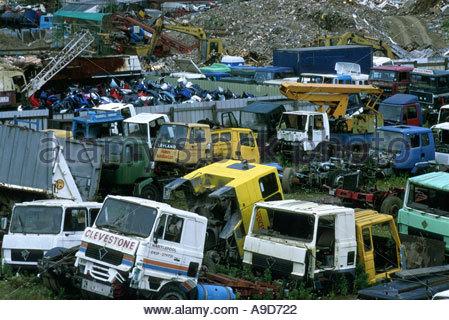 Vehicle breakers Scunthorpe Humberside UK - Stock Photo