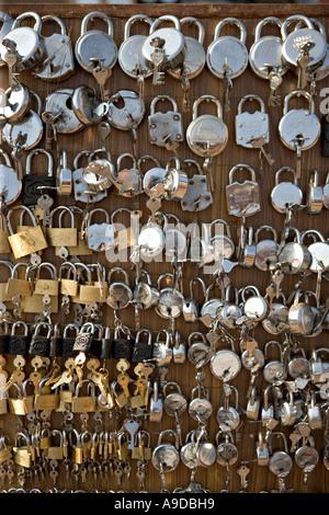 Padlocks for sale in Bhaktapur Kathmandu valley Nepal - Stock Photo