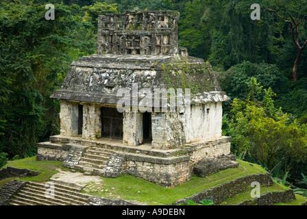 Palenque temple of the sun Chiapas Mexico - Stock Photo