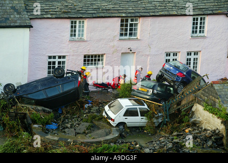 Boscastle in North Cornwall UK after it was hit by flash floods - Stock Photo