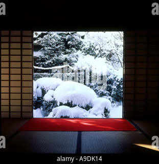 Garden view in snowy day Daitoku ji Temple Kyoto Japan - Stock Photo