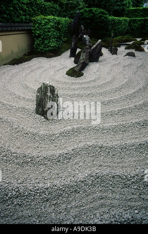 Zen garden of Zuiho in Daitoku ji Temple complex Kyoto Japan - Stock Photo