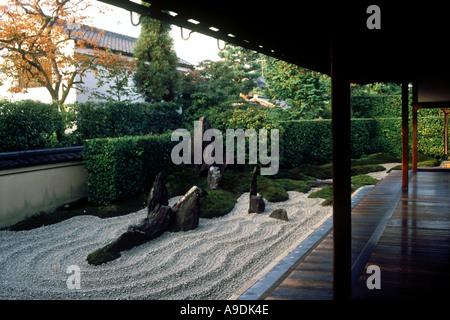 Zen garden of Zuiho in Daitoku ji Temple complex Kyoto Japan - Stock Photo