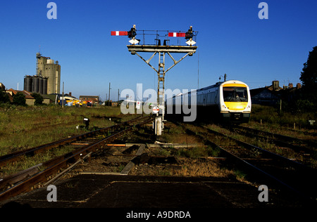 Passenger train arriving at Lowestoft in Suffolk, Britain's most easterly railway station. - Stock Photo