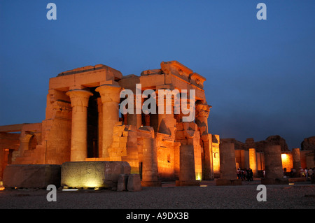 Kom Ombo Temple on the banks of the River Nile dedicated to the crocodile god Sobek and Horus the hawk god floodlit - Stock Photo